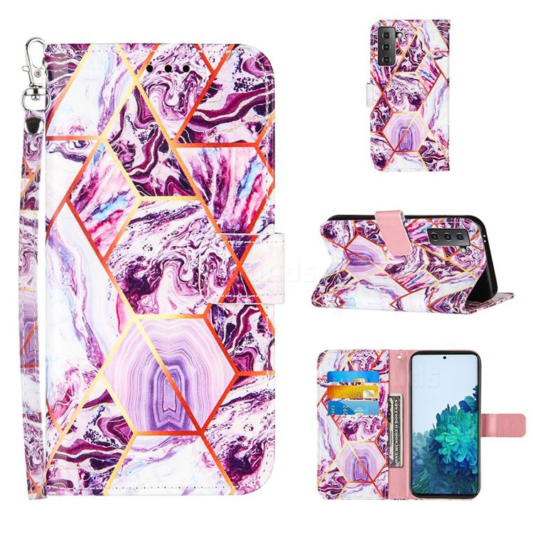 Dream Purple Stitching Color Marble Leather Wallet Case for Samsung Galaxy S21
