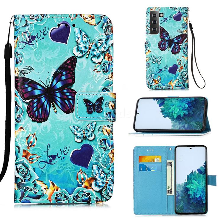Love Butterfly Matte Leather Wallet Phone Case for Samsung Galaxy S21