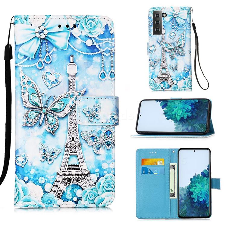 Tower Butterfly Matte Leather Wallet Phone Case for Samsung Galaxy S21