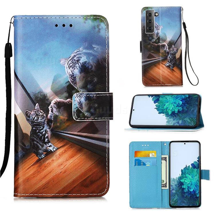 Mirror Cat Matte Leather Wallet Phone Case for Samsung Galaxy S21