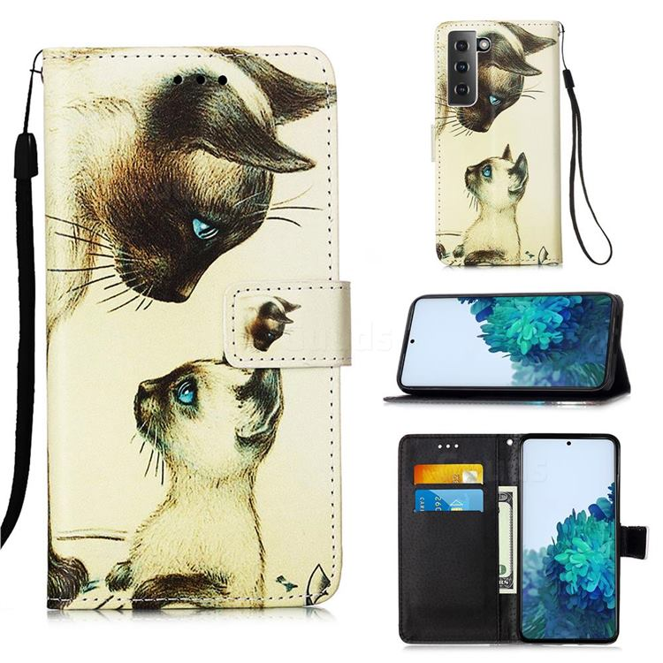 Cat Confrontation Matte Leather Wallet Phone Case for Samsung Galaxy S21