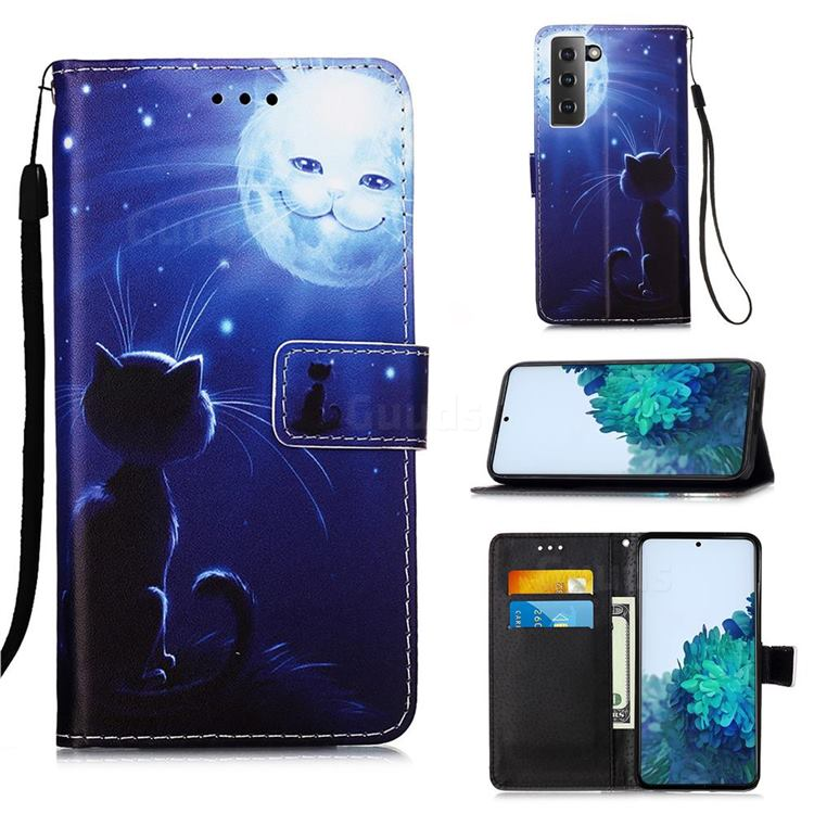Cat and Moon Matte Leather Wallet Phone Case for Samsung Galaxy S21