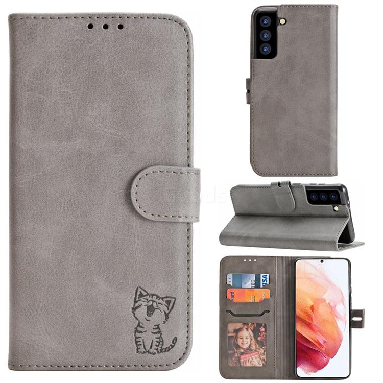 Embossing Happy Cat Leather Wallet Case for Samsung Galaxy S21 - Gray