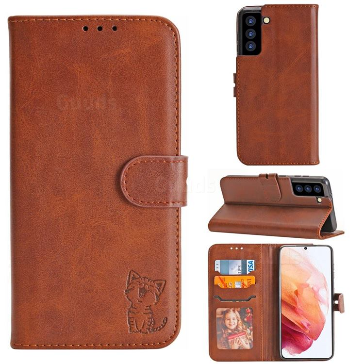 Embossing Happy Cat Leather Wallet Case for Samsung Galaxy S21 - Brown