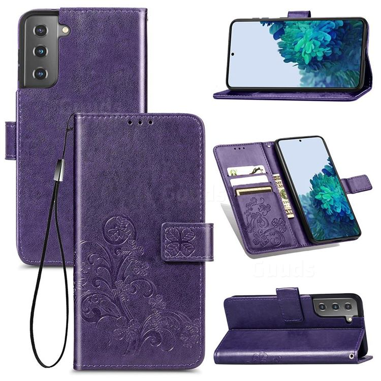 Embossing Imprint Four-Leaf Clover Leather Wallet Case for Samsung Galaxy S21 - Purple