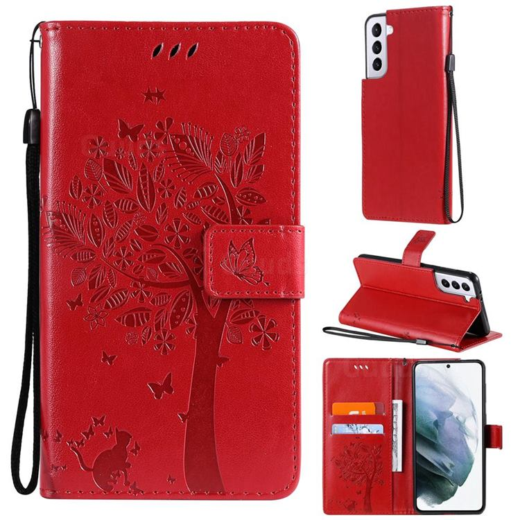 Embossing Butterfly Tree Leather Wallet Case for Samsung Galaxy S21 - Red