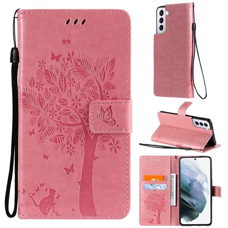 Embossing Butterfly Tree Leather Wallet Case for Samsung Galaxy S21 - Pink