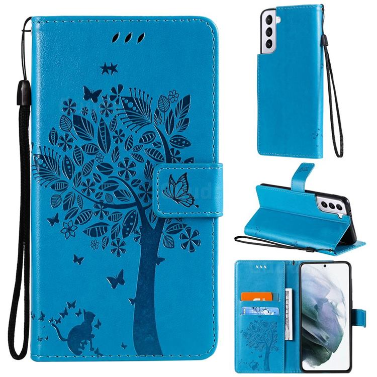 Embossing Butterfly Tree Leather Wallet Case for Samsung Galaxy S21 - Blue