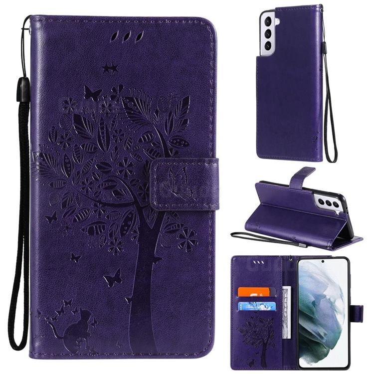 Embossing Butterfly Tree Leather Wallet Case for Samsung Galaxy S21 - Purple