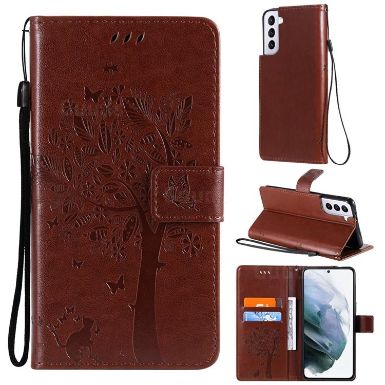 Embossing Butterfly Tree Leather Wallet Case for Samsung Galaxy S21 - Coffee