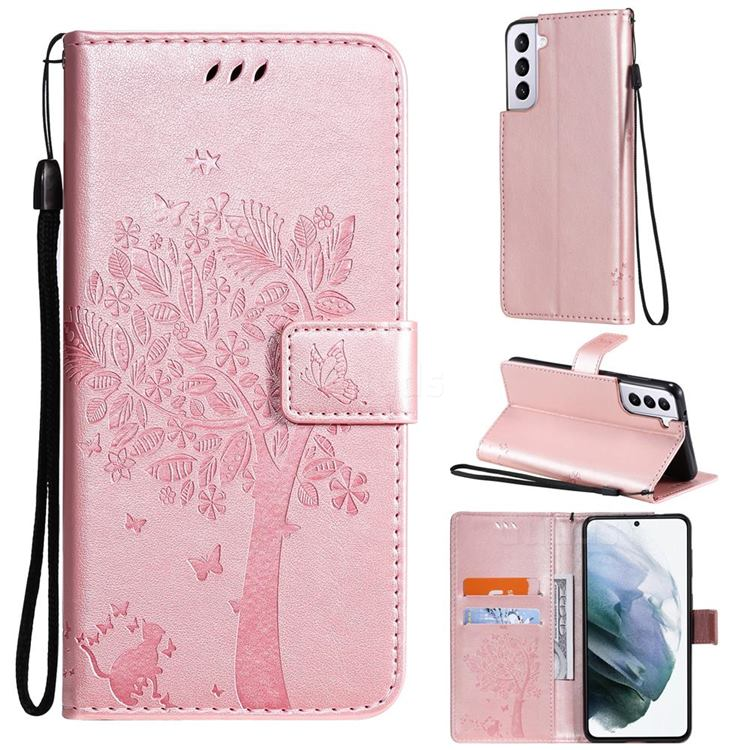 Embossing Butterfly Tree Leather Wallet Case for Samsung Galaxy S21 - Rose Pink