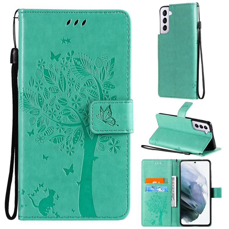Embossing Butterfly Tree Leather Wallet Case for Samsung Galaxy S21 - Cyan