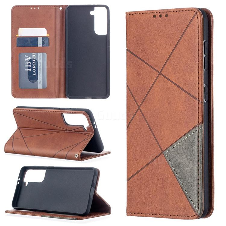 Prismatic Slim Magnetic Sucking Stitching Wallet Flip Cover for Samsung Galaxy S21 - Brown