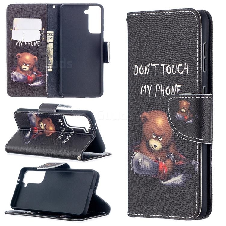 Chainsaw Bear Leather Wallet Case for Samsung Galaxy S21