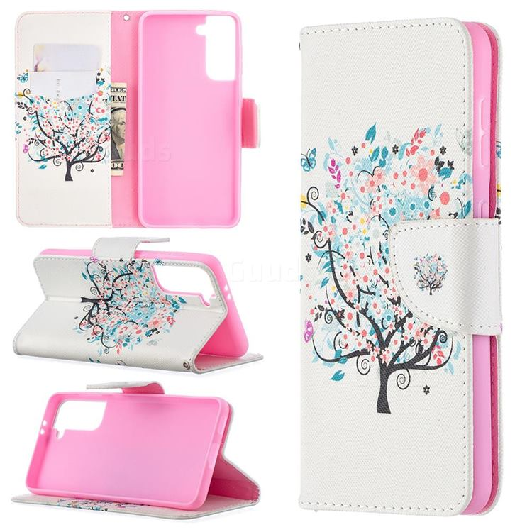 Colorful Tree Leather Wallet Case for Samsung Galaxy S21