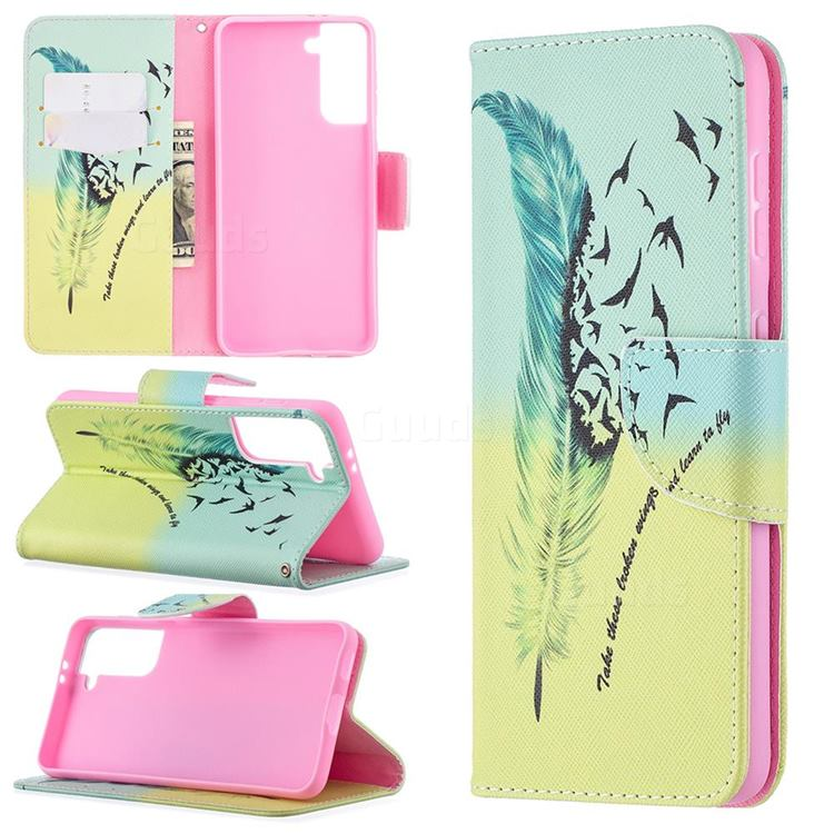 Feather Bird Leather Wallet Case for Samsung Galaxy S21