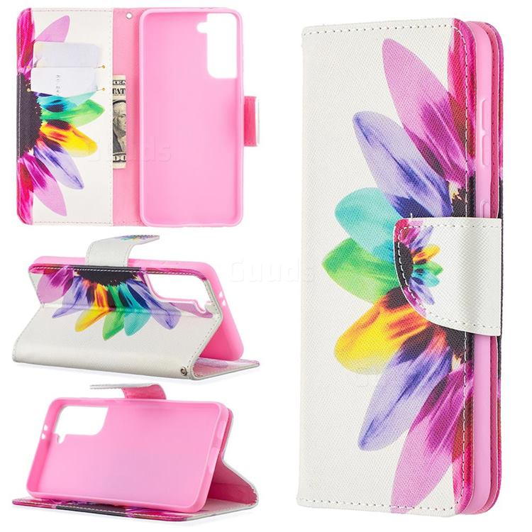 Seven-color Flowers Leather Wallet Case for Samsung Galaxy S21