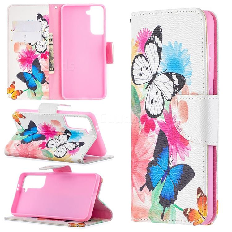 Vivid Flying Butterflies Leather Wallet Case for Samsung Galaxy S21