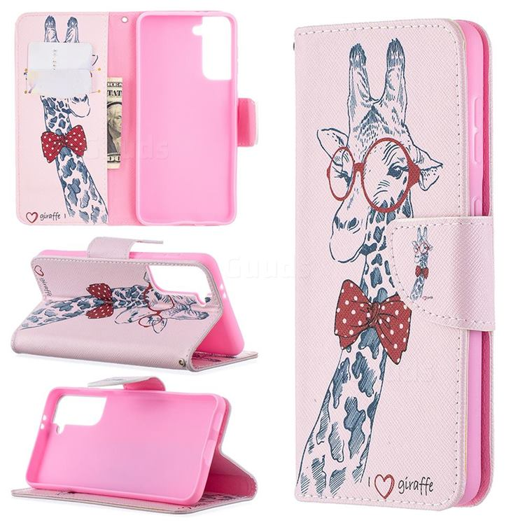 Glasses Giraffe Leather Wallet Case for Samsung Galaxy S21