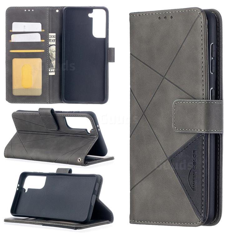 Binfen Color BF05 Prismatic Slim Wallet Flip Cover for Samsung Galaxy S21 - Gray