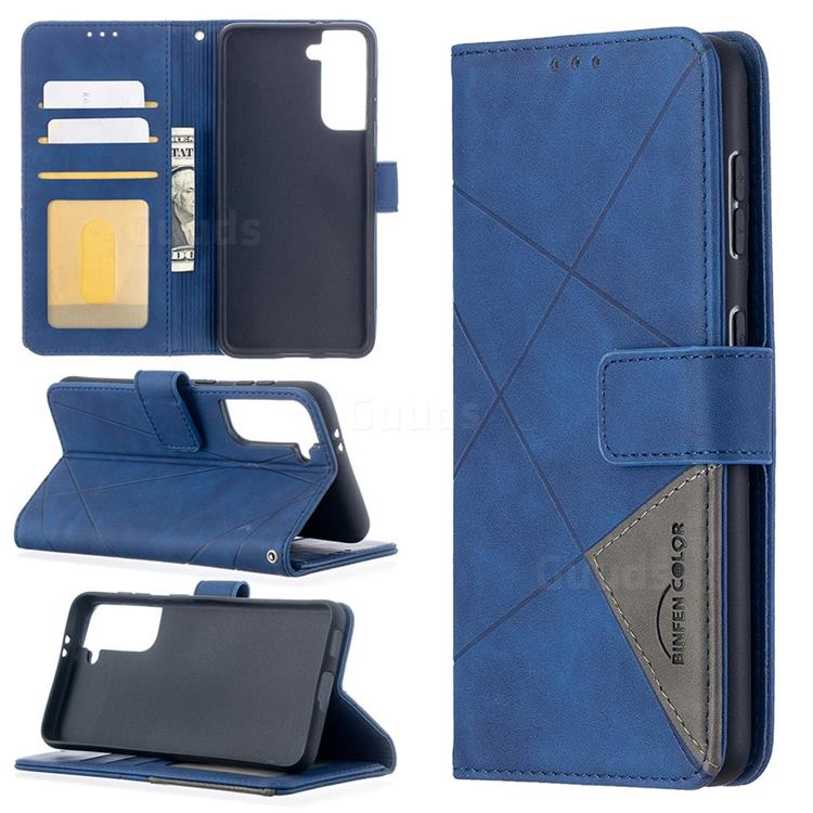 Binfen Color BF05 Prismatic Slim Wallet Flip Cover for Samsung Galaxy S21 - Blue