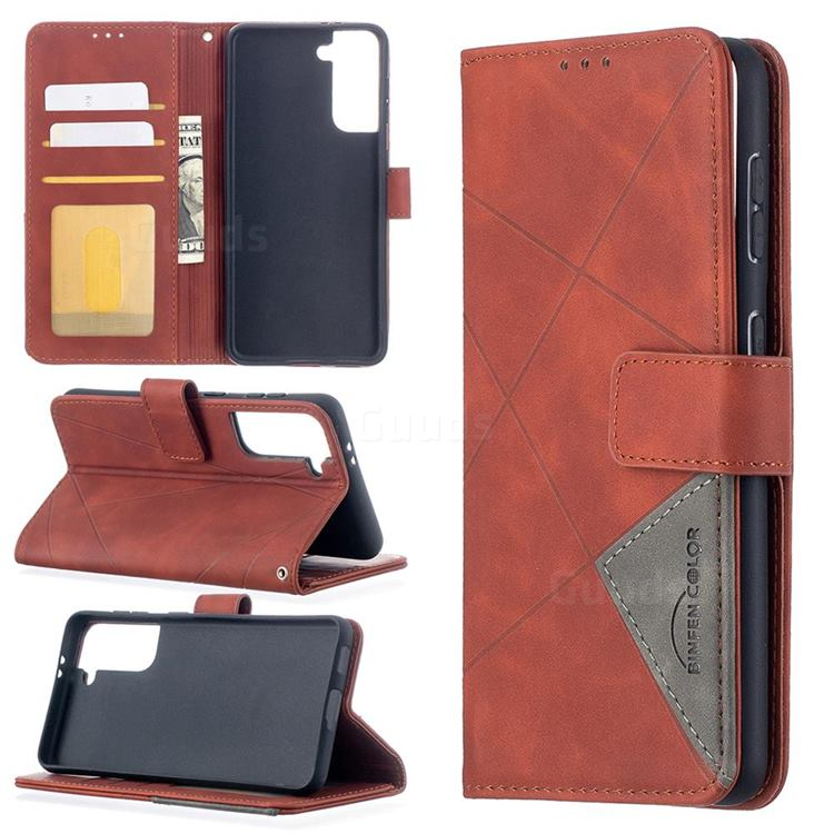 Binfen Color BF05 Prismatic Slim Wallet Flip Cover for Samsung Galaxy S21 - Brown