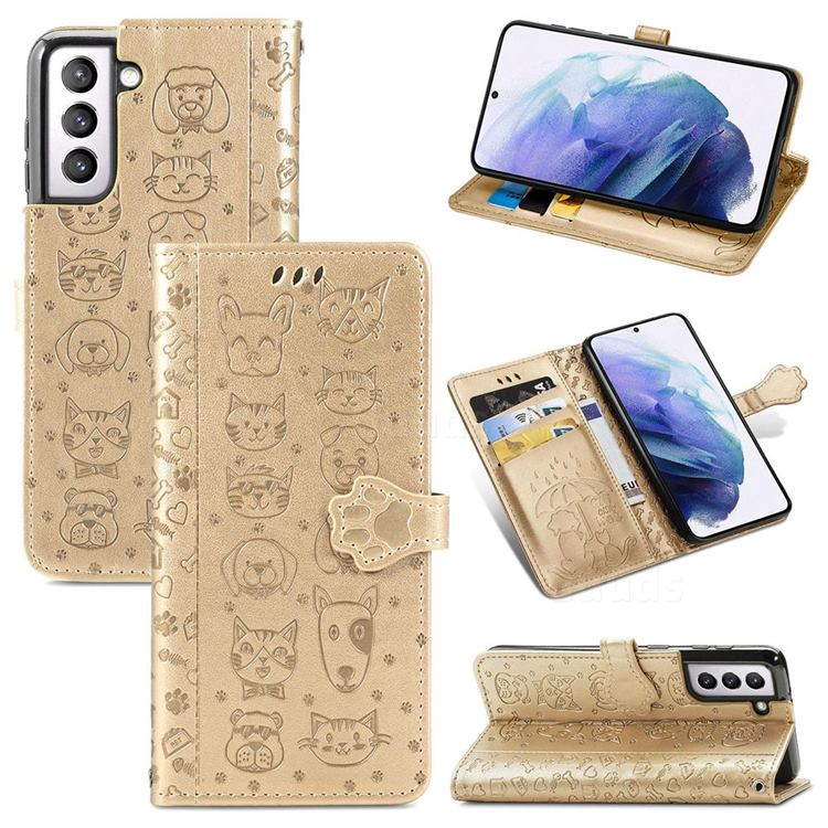 Embossing Dog Paw Kitten and Puppy Leather Wallet Case for Samsung Galaxy S21 - Champagne Gold