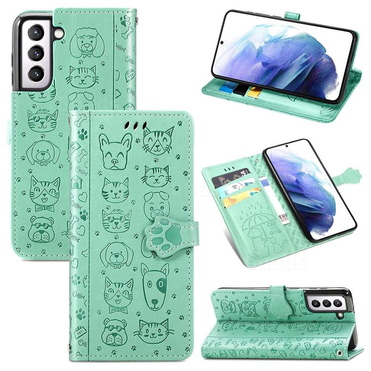 Embossing Dog Paw Kitten and Puppy Leather Wallet Case for Samsung Galaxy S21 - Green