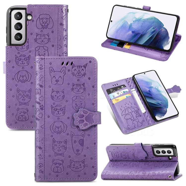 Embossing Dog Paw Kitten and Puppy Leather Wallet Case for Samsung Galaxy S21 - Purple