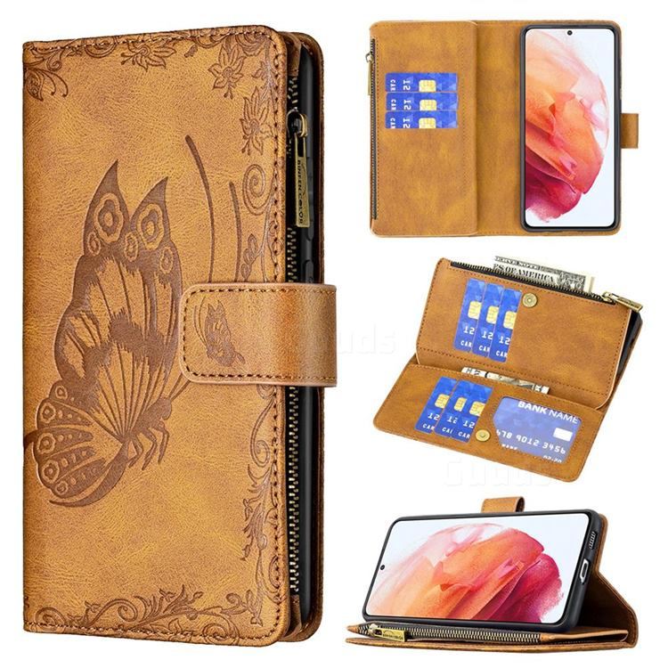 Binfen Color Imprint Vivid Butterfly Buckle Zipper Multi-function Leather Phone Wallet for Samsung Galaxy S21 - Brown