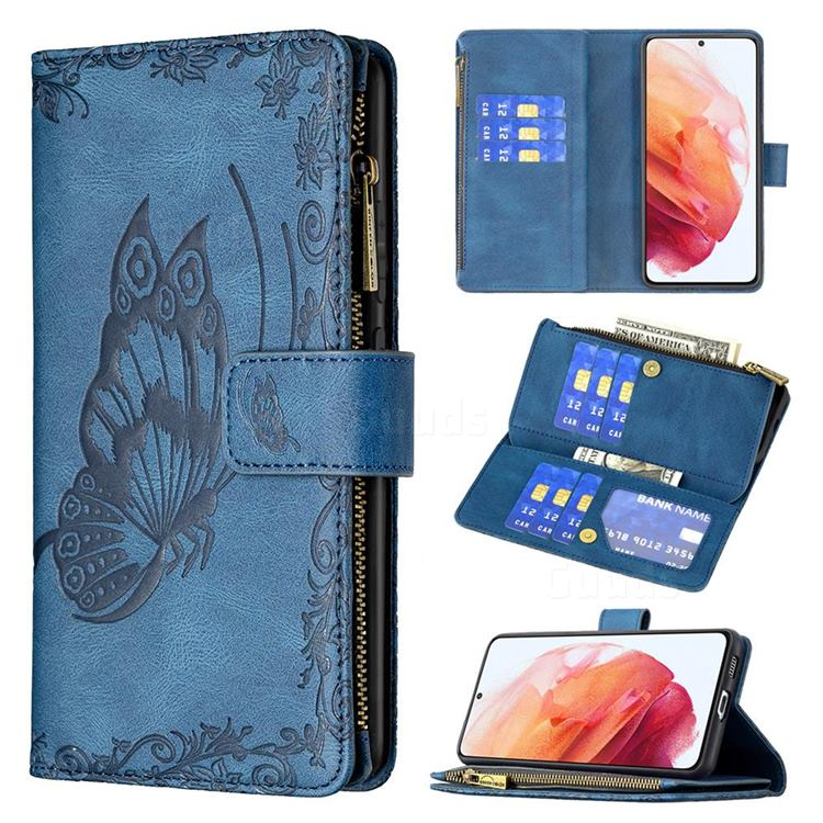 Binfen Color Imprint Vivid Butterfly Buckle Zipper Multi-function Leather Phone Wallet for Samsung Galaxy S21 - Blue