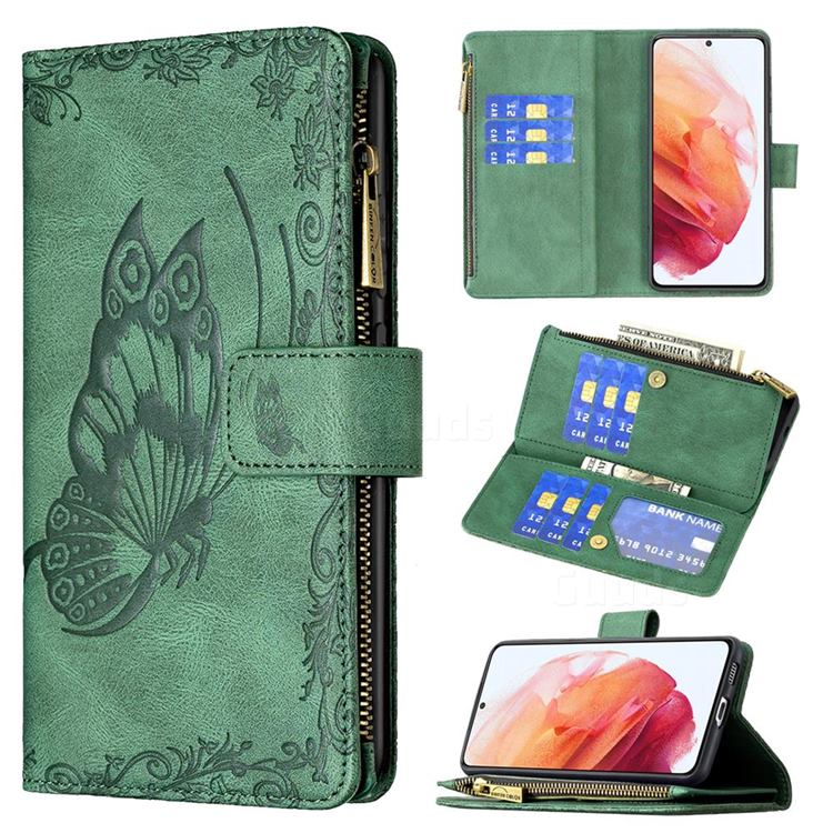 Binfen Color Imprint Vivid Butterfly Buckle Zipper Multi-function Leather Phone Wallet for Samsung Galaxy S21 - Green