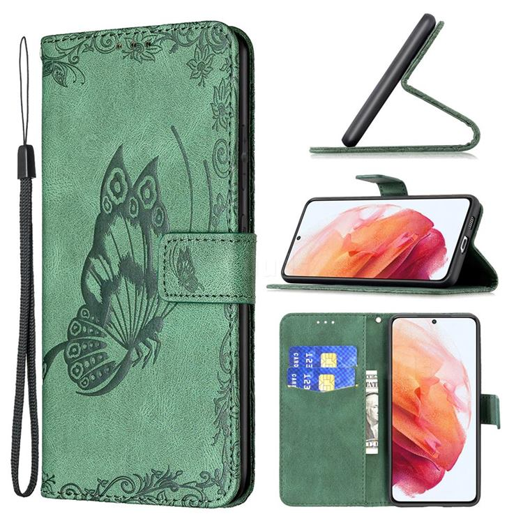 Binfen Color Imprint Vivid Butterfly Leather Wallet Case for Samsung Galaxy S21 - Green
