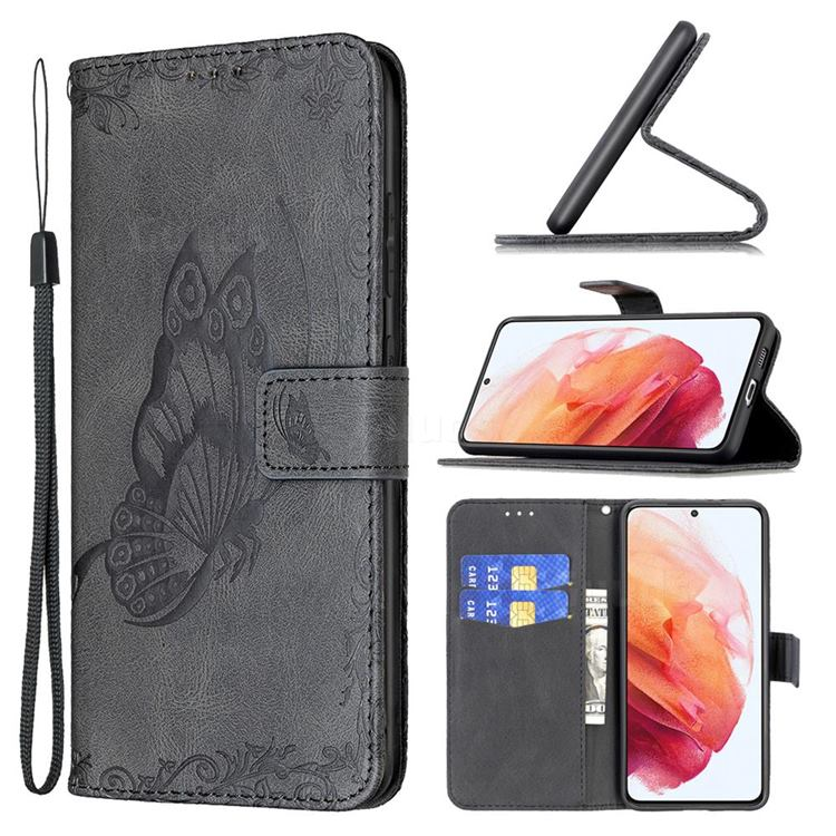 Binfen Color Imprint Vivid Butterfly Leather Wallet Case for Samsung Galaxy S21 - Black