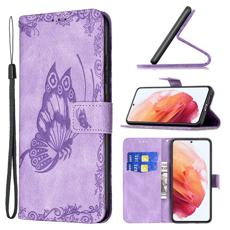 Binfen Color Imprint Vivid Butterfly Leather Wallet Case for Samsung Galaxy S21 - Purple