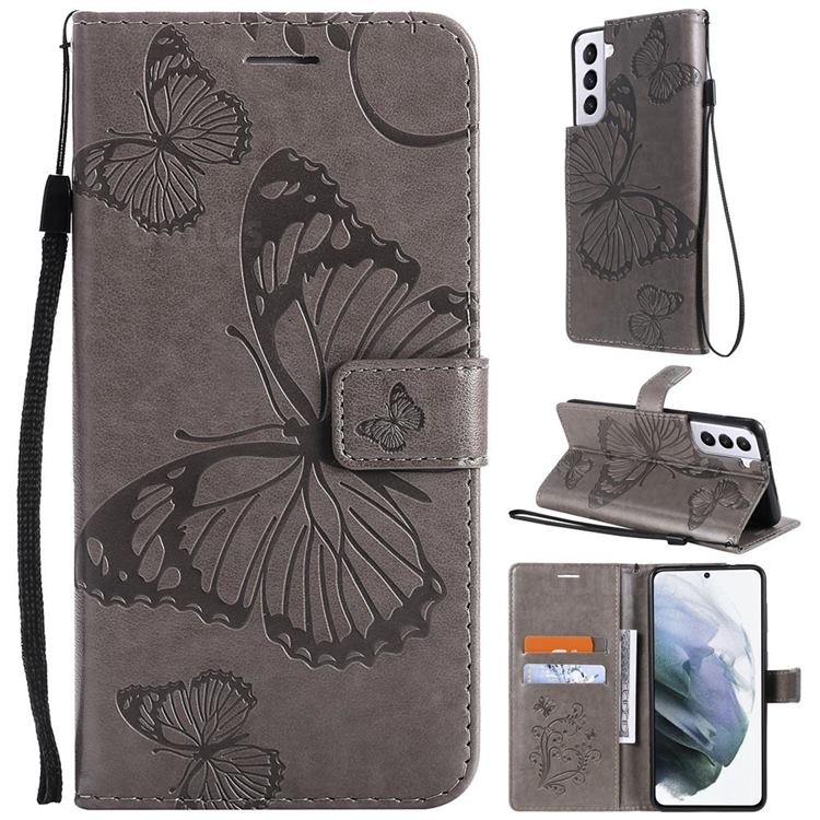 Embossing 3D Butterfly Leather Wallet Case for Samsung Galaxy S21 - Gray