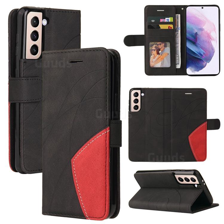 Luxury Two-color Stitching Leather Wallet Case Cover for Samsung Galaxy S21 - Black