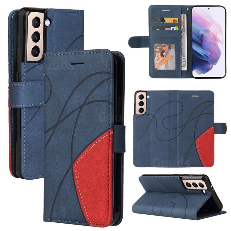 Luxury Two-color Stitching Leather Wallet Case Cover for Samsung Galaxy S21 - Blue
