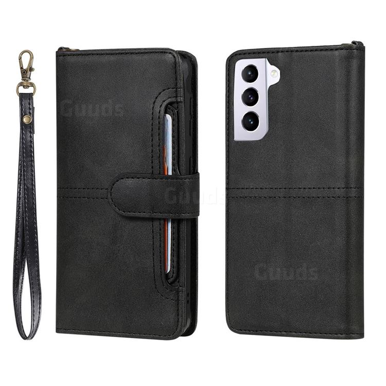 Retro Multi-functional Detachable Leather Wallet Phone Case for Samsung Galaxy S21 - Black