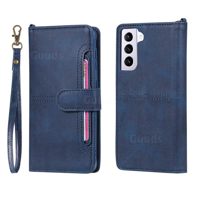 Retro Multi-functional Detachable Leather Wallet Phone Case for Samsung Galaxy S21 - Blue