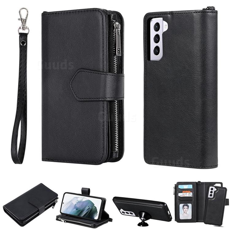 Retro Luxury Multifunction Zipper Leather Phone Wallet for Samsung Galaxy S21 - Black