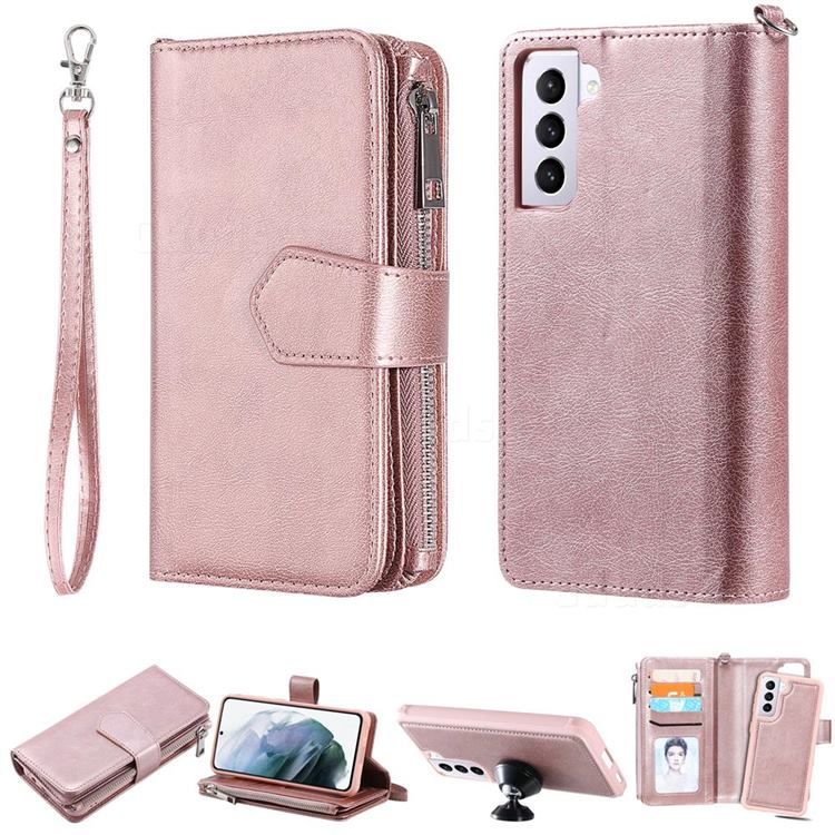 Retro Luxury Multifunction Zipper Leather Phone Wallet for Samsung Galaxy S21 - Rose Gold
