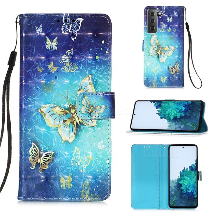 Gold Butterfly 3D Painted Leather Wallet Case for Samsung Galaxy S21
