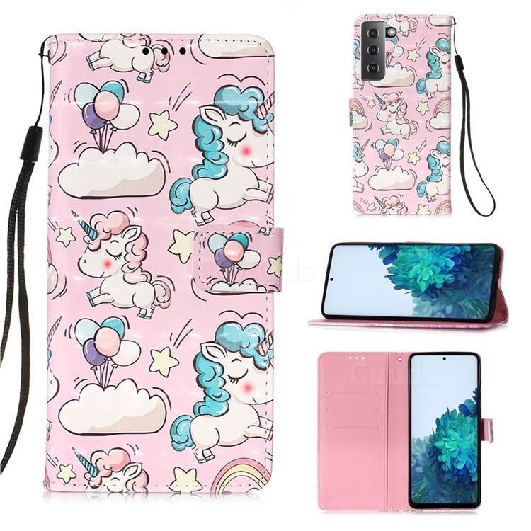 Angel Pony 3D Painted Leather Wallet Case for Samsung Galaxy S21