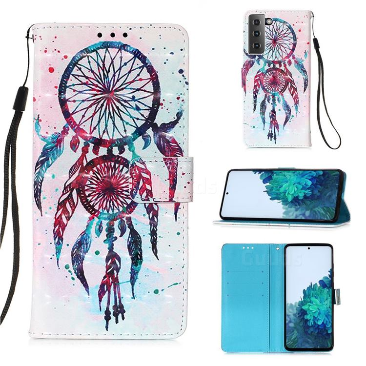 ColorDrops Wind Chimes 3D Painted Leather Wallet Case for Samsung Galaxy S21