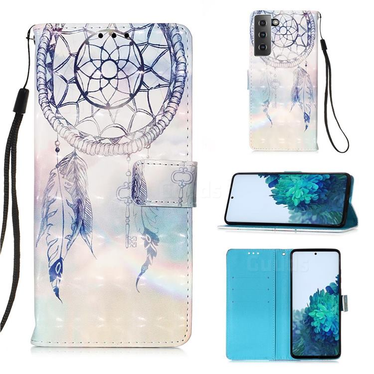 Fantasy Campanula 3D Painted Leather Wallet Case for Samsung Galaxy S21