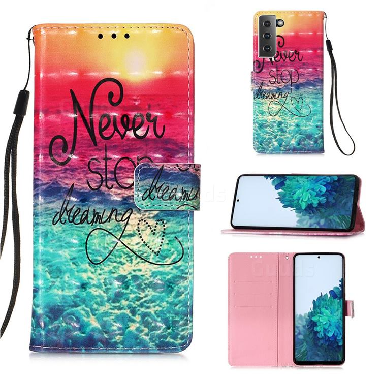 Colorful Dream Catcher 3D Painted Leather Wallet Case for Samsung Galaxy S21