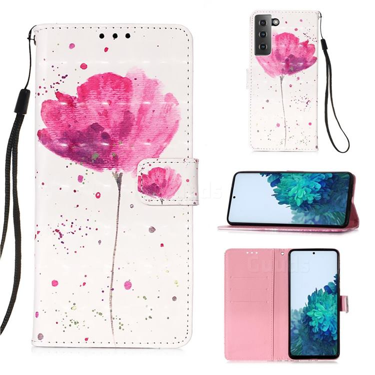 Watercolor 3D Painted Leather Wallet Case for Samsung Galaxy S21