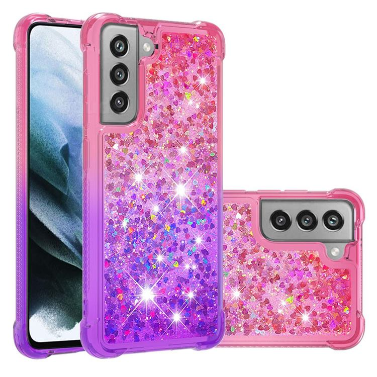 Rainbow Gradient Liquid Glitter Quicksand Sequins Phone Case for Samsung Galaxy S21 FE - Pink Purple