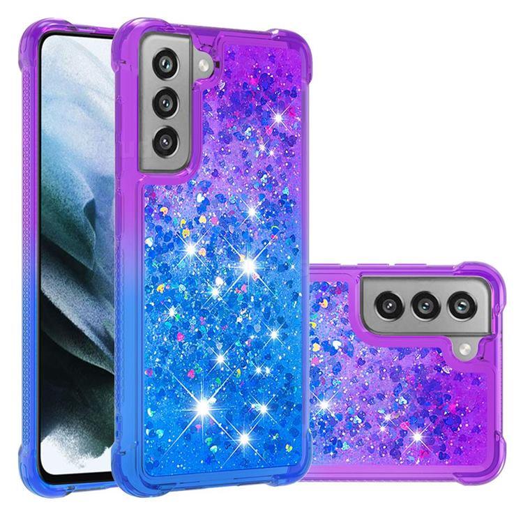 Rainbow Gradient Liquid Glitter Quicksand Sequins Phone Case for Samsung Galaxy S21 FE - Purple Blue